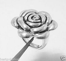 3D Oxidized Floral Rose Bud Band Ring Real 925 Sterling Silver