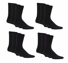 12 PAIRS OF MENS PLAIN COTTON SOCKS IN BLACK OR MIXED COLOUR PACKS 6-11