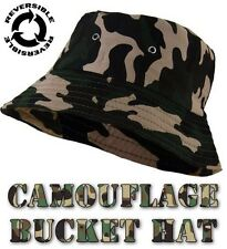MENS WOODLAND CAMOUFLAGE REVERSABLE BUCKET HAT COTTON MILITARY ARMY CAMO HAT