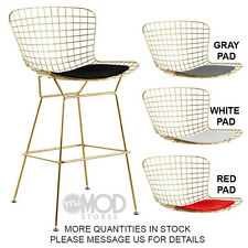 Wire Counter Stool with Seat Pad Wireback Modern Mid Century Mesh Stool Gold