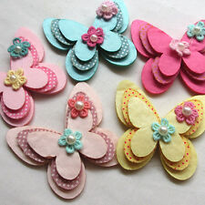 New Padded Flet Butterfly Satin Ribbon Flowers W/beads Appliques Wedding A454