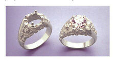 (9-12mm) Round Nugget Swirl Solid Silver Pre-Notched Ring Setting (Size 9-11)