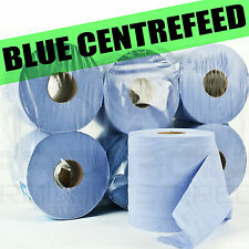 PACK OF 1/2/4/6 ROLLS 2PLY BLUE EMBOSSED CENTREFEED PAPER WIPE HAND TOWEL TISSUE