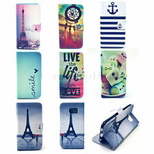 Hot Flip Cute Wallet Painted PU Leather Card Stand Cover For Samsung Galaxy Case