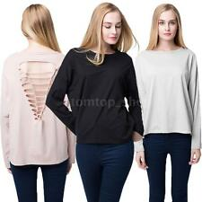Sexy Women Casual T-Shirt Hollow Out Back Long Sleeve Pullover Tops Blouse Tees