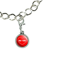 Silver Plated Bracelet with Antiqued Charm I Love Heart Places N-P