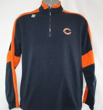 NEW Mens NFL Apparel Chicago BEARS Blue Micro Fleece 1/4 Zip Long Sleeve Shirt