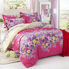 Flowers Pink Single Double Queen King Size Bed Set Pillowcases Quilt Duvet Cover