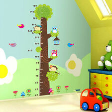Owl Monkey Tree Kids Height Chart Decal Removable PVC Wall Sticker Nursery Decor