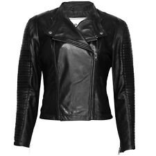 VIPARO Black Quilted Collarless Lambskin Evening Leather Coat Jacket - Rogue