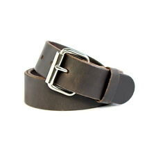 """Quality Crafted Dark Brown Mens Cow Leather Belt - 1.5"""" Wide - Removable Buckle"""
