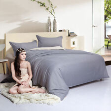 Grey White Simple Double Queen King Size Bed Set Pillowcases Quilt Duvet Cover