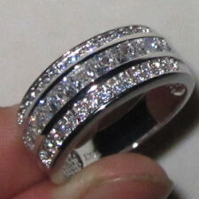 Size 8-13 Mens Jewelry White Sapphire CZ Stone 10KT White Gold Filled Band Ring