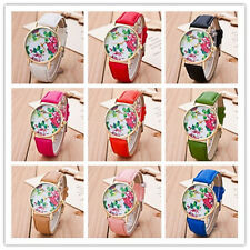 Fashion Geneva Women Watches Flower Leather Analogue Quartz Vogue Wrist Watch