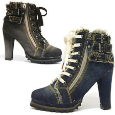 Women's Denim Chunky Heeled Ankle Boots Sneakers Look Buckle Zipper Platform