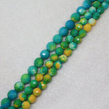 """8,10mm Faceted Blue Yellow  Snow jade stones Round Gemstone DIY Loose Beads 15"""""""