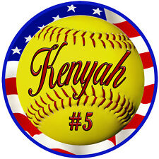 2 Softball USA Flag Decal Bumper Sticker No Fade Personalize AnyText Many Colors
