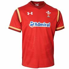 Under Armour Mens Wales Rugby Team Home Supporters Shirt Jersey Top 15/16 Red