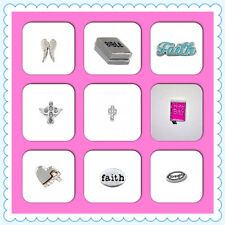 Floating Charm-Faith-Bible-Angel Wings-Strength-Cross-For Living Glass Lockets