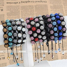 Woven Rhinestone Crystal Resin Pave Disco Ball Beads Hip Hop Macrame Bracelet