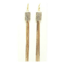 Fashion Women Rhinestone Square Jewelry Crystal Long Tassel Hook Dangle Earrings