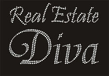 Real Estate DIVA Rhinestone iron on transfer Color red, green royal blue, gold,