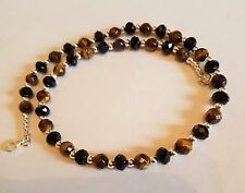 new 925 sterling silver with gemstone faceted tigers eye bead necklace