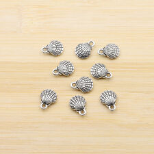 10/30/50pcs Seashell Charms Antique Silver Ocean 3D Shell pendants charms 12x9mm