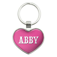 Metal Keychain Key Chain Ring Pink I Love Heart Name A