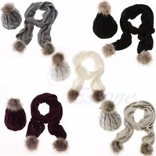 New Fashion Women Winter Warm Scarf Hat Set Shawl Wrap Beanie Skull Ski Knit Cap
