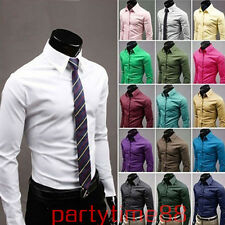 Hot 17Colours Mens Luxury Stylish Solid Casual Slim Fit Dress Shirts Tshirts