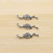 Rose Leaf Tibet Silver Charms Connectors Beaded Vintage Jewelry Findings 33x8mm