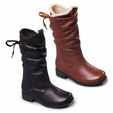 Padders PIPER Ladies Womens Leather Extra Wide Plus Zip Warm Calf High Boots