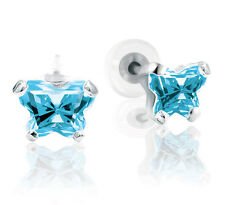 March Butterfly C Z Aquamarine Birthstone Earrings w/ Box 10K or 14K White Gold