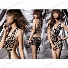 Hot Leopard Sexy Deep V-ncek Backless Evening Womens Party Clubwear Mini Dress
