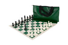 Chess Set Combo - Single Weighted Pieces | Vinyl Chess Board | Superior Bag