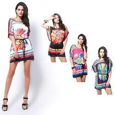 Women Colorful Chrysanthemum Print Batwing Sleeve Summer Dress Cocktail Party