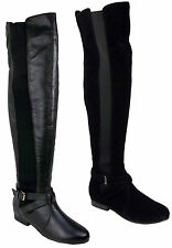 LADIES WOMEN THIGH HIGH OVER THE KNEE WIDE LEG CALF FLAT HEEL BOOTS SHOES SIZE