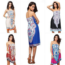 Fashion Ladies Summer Strapless Wrapped Chest BOHO Cocktail Party Evening Dress