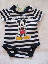 DISNEY MICKEY MOUSE BLUE/ WHITE ROMPER TEAM MICKEY SIZES 00 & 0 BNWT