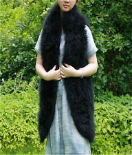"""29"""" Long vest real hairy Ostrich Feather furry Fur coat bridal waistcoat size"""