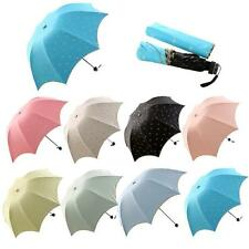 Women Lady Embroidery Princess Lace Bow Dome Parasol Sun/Rain Folding Umbrella
