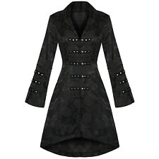 Ladies New Black Gothic Military Satin Steampunk Floral Brocade Jacket Coat