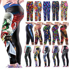 Womens 3D Yoga Gym Pants Running Sports Cropped Tight Leggings Fitness Jogging