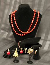 """Vintage Lot Christmas Costume Jewelry 46"""" Necklace 2 Clip Earring 2 Pin Bracelet"""