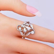 Elegant Womens CZ Ring silver plated Flower Ring Gold Filled Size 5 6 7.5 9