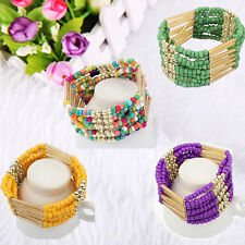 Lady's Fashion Bohemian Charm Tassel Beads Multilayer Solid Color Cute Bracelet