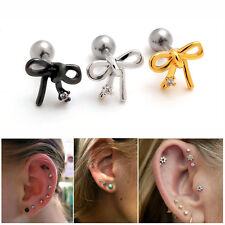 2pcs 16G Bowknot Upper Ear Studs Cartilage Earring Tragus Forward Helix Piercing