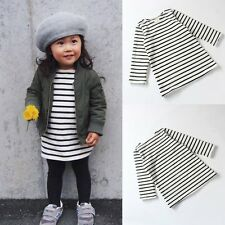Kids Baby Girls Toddlers Long Sleeve Striped Dress T-Shirt Tee Shirt Tops 0-7Y