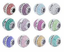 925 Sterling Silver Birthstone Pave Crystal CZ Charm Beads for European Bracelet